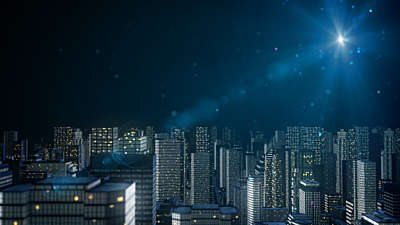 Particle Glow City Night