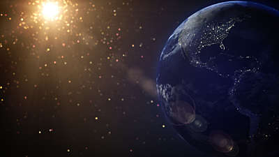 Particle Glow Earth Stars