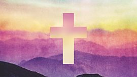 Watercolor Cross Mountains