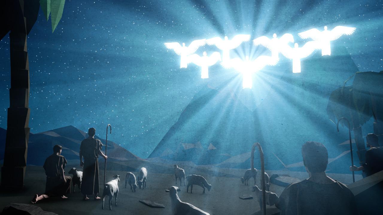Christmas Shepherds.Bethlehem Night Shepherds Angels Motion Background