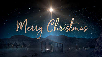 Starry Night Nativity Merry Christmas